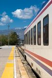 Orient Express in Erzurum. ERZURUM, TURKEY - MAY 06, 2017 : Wagon view of Orient Express train on railroad on cloudy sky background. It is famous train service Stock Photography