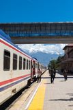 Orient Express in Erzurum. ERZURUM, TURKEY - MAY 06, 2017 : Wagon view of Orient Express train on railroad on cloudy sky background. It is famous train service Stock Photo