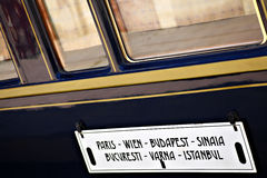 Orient Express train. Bucharest, Romania - September 3, 2012: Detail on one of the wagons of the Orient Express train, shortly after arriving in Bucharest. The stock photography