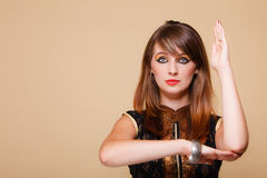 Orient girl with makeup hand gesture Royalty Free Stock Photography