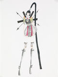 Orient inspired fashion. Extravagant fashion design. hand drawn illustration royalty free illustration