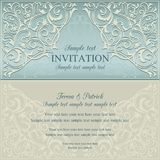 Orient invitation, blue and beige Stock Photos