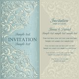 Orient invitation, blue and beige Stock Photo