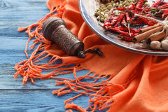 Orient table with spices on blue table Royalty Free Stock Images