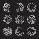 Orientał chmura w round kształta ramy ikonie japończycy tajlandzki ilustracji