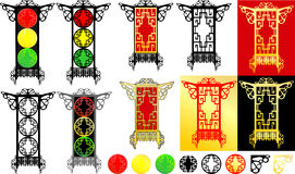 Oriental lanterns & traffic light Stock Photos