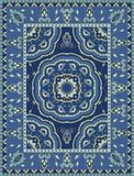 Blue template for carpet. Oriental abstract ornament. Colorful template for carpet, textile. Blue pattern with frame Stock Images