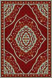Red template for carpet. Oriental abstract ornament. Colorful template for carpet, textile. Red and turquoise pattern with frame Stock Photos
