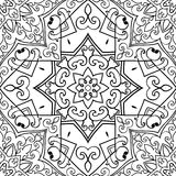Oriental abstract ornament. Seamless  background. The pattern with contour abstract mandalas. Oriental black and white ornament. Template for textile Royalty Free Stock Photos