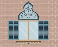 Oriental adornó la ventana ilustración del vector