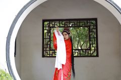 Oriental Aisa Chinese actress Peking Beijing Opera Costumes Pavilion garden China traditional drama play dress perform ancient stock photography