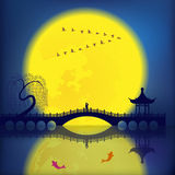 Oriental Ancient Scenery. Arch Bridge, Pavilion, Willow, Fish and Moon Royalty Free Stock Images