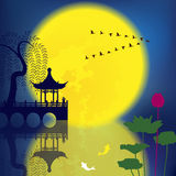 Oriental Ancient Scenery. Arch Bridge, Pavilion, Willow, Fish and Moon Royalty Free Stock Photography