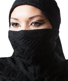 Oriental arabian makeup,portrait of asian kazakh woman in hi jab Stock Photos