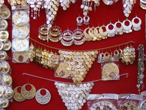 Oriental Arabic jewelry on display in souk market. In khan el khalili cairo egypt Stock Photo