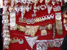 Oriental Arabic jewelry on display in souk market. Oriental Arabic jewelry accessories in khan el khalili cairo egypt Royalty Free Stock Photography