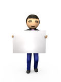 Oriental Asian 3D Guy Holding Blank Sign. Shaded Copyspace Royalty Free Stock Photos