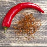 Oriental asian indian spices chili saffron strings curcuma powder royalty free stock photo