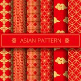 Oriental asian traditional korean japanese chinese patterns decoration elements set,web online concept page background. Asians symbols.Koreans tradition ornate royalty free illustration