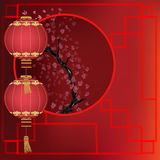Oriental background with lanterns Royalty Free Stock Photography