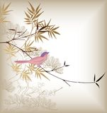 Oriental Bamboo and Bird Stock Image