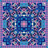 Oriental bandana print. Lovely tablecloth. Silk neck scarf. Ornamental background with ethnic motifs. Kerchief square pattern design style for print on fabric Stock Image