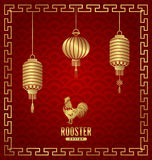 Oriental Banner for Chinese New Year Rooster. Illustration Oriental Banner for Chinese New Year Rooster. Templates for Design Greeting Cards, Invitations, Flyers Stock Image