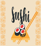 Oriental banner with sushi on the tray and sticks Stock Photo