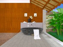 Oriental bathroom. 3D CG rendering of the oriental bathroom Stock Image
