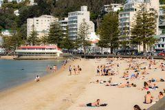 Oriental Bay New Zealand During Summer Heatwave. Crowds head to the beach on summer new zealand day which was unusually hot Stock Photos