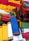 Oriental bazaar objects - ketene fabrics. Ketene - traditional fabrics.  Traditional objects at the biggest oriental bazaar in turkmenistan tolkuchka close to Stock Photos