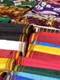 Oriental bazaar objects - ketene & silk kerchiefs. Ketene fabrics and silky women kerchiefs.  Traditional objects at the biggest oriental bazaar in Stock Image
