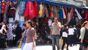 Oriental bazaar in Tunis stock video footage