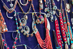 Oriental beads and silver accessories in the bazaar Stock Photography