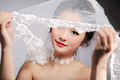 Oriental beauty bride. Close-up isolated on gray background stock photos