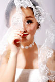 Oriental beauty bride. Fashion beautiful oriental face bride close-up stock photos