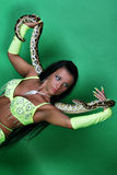 Oriental beauty with tiger Python. Stock Photography