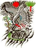 Oriental bird and tree painting Stock Photos