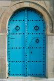 Oriental blue door Royalty Free Stock Photo