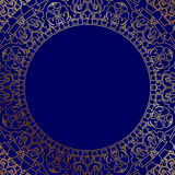Oriental blue frame with gold ornament Royalty Free Stock Photo