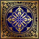 Oriental blue & gold rug Stock Photo