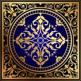 Oriental blue & gold rug. Vector illustration of oriental blue & gold rug royalty free illustration