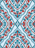 Oriental blue and red ornament. Royalty Free Stock Images