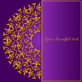 Oriental border. Beautiful greeting card template in oriental style in purple and gold color Stock Images