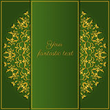 Oriental border card. Beautiful greeting card template in oriental style in green and gold colors Royalty Free Stock Photo