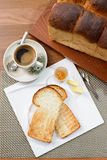 oriental breakfast set in Malaysia consisting of toast bread and coffee Royalty Free Stock Photo