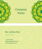 Oriental business card. Exquisite business card template with traditional indian ornament Stock Images