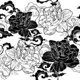 oriental Cape jasmine and and aroma cloud for seamless pattern  with black and white classic tone Royalty Free Stock Photography