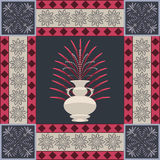 Oriental carpet vase and leaf decor element Royalty Free Stock Photos