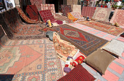 Oriental Carpets. At a roadside carpetshop in Turkey Royalty Free Stock Photos